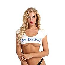 BingYELH Yes Daddy Women's Teen Girls Short Sleeve Crop Tops Funny Cotton T-Shirts