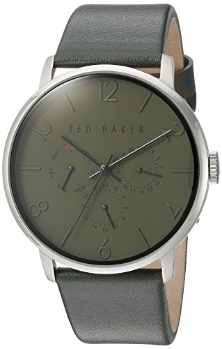 Ted Baker Men's 'Smart Casual' Quartz Stainless Steel and Leather Dress Watch, Color:Green (Model: 10030766)