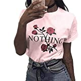 Gooldu Women Nothing Rose Printing Summer Loose Tops Short-Sleeved Blouse T Shirt