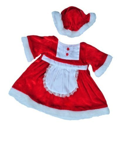 Mrs Santa Claus Christmas Dress outfit teddy bear clothes to fit 15 16 build a bear factory bears by Teddy (Mrs Claus Plus)