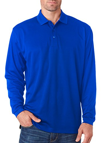 Polyester Pique Polo Shirt (Ultraclub Adult Cool & Dry Long-Sleeve Mesh Piqué Polo Shirt, Royal, Large)
