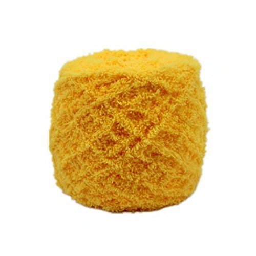 Celine lin One Skein Super Soft Warm Coral Fleece Fluffy Knitting Yarn Baby Blanket Yarn 100g,Yellow