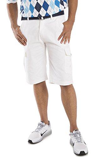 Vibes Gold Label Men White Cotton Canvas Cargo Shorts Matching (Canvas Drawstring Shorts)