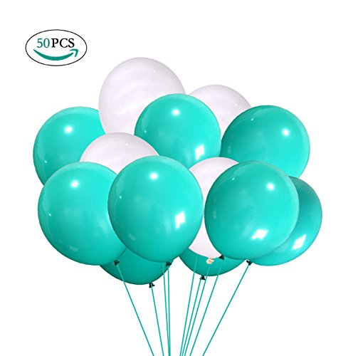 Party Decorations Balloons, Turquoise Teal Blue Confetti Latex Balloons(Thickened 12