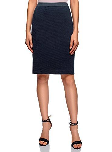 oodji Ultra Femme Jupe Taille lastique en Maille C?tele Bleu (7900n)