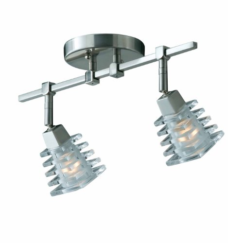 (Triarch 25612 2 Light Milan Adjustable Spot Light, Brushed Steel)