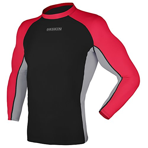 DRSKIN UV Sun Protection Long Sleeve Top Shirts Skins Tee Rash Guard Compression Base Layer UPF 50+ (Rash MA B-G-RE01, - Skin Suit Mens