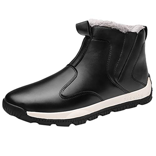 Haforever Men's Snow Boots Winter Shoes Slip-on Resistant Booties Ankle Boots with Fur Lining Warm Leather Shoes