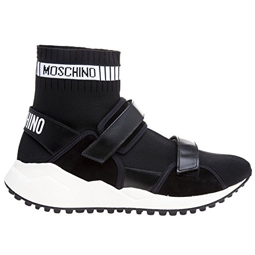 Noir High Top Mode MOSCHINO Baskets Noir Homme Strap Velcro Bqwwx4Zv