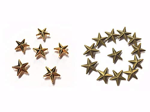 Gold Jeans Stud - 50 Pcs Star Studs, Blend of Two Colors Metal Claw Beads Nailhead Punk Rivets with Spikes (Gold & Bronze, 20 mm)