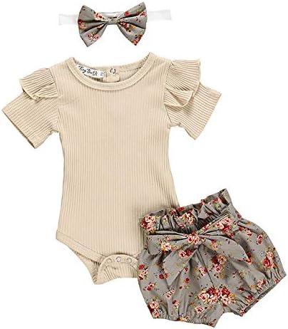 LIXIUQING Sommer Mädchen Kleidung Anzug einfarbig kurzärmelige gekräuselte Overall Tops Blumenshorts Stirnband 3 Stück Mädchen