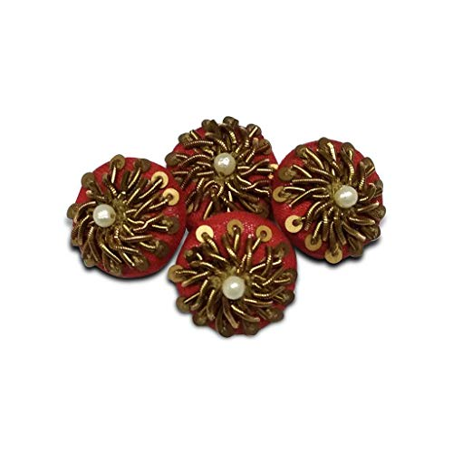 Jacknjewel handmade buttons, buttons of kurta using dabka, sequence, moti & zardosi work (Red color, pack of 4 pieces)