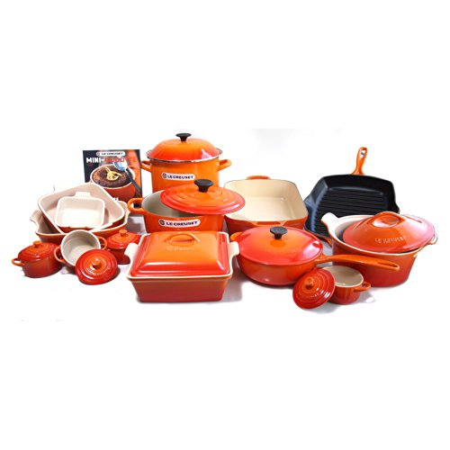 Le Creuset Signature Flame Enameled Cast Iron 24 Piece Cookware Set