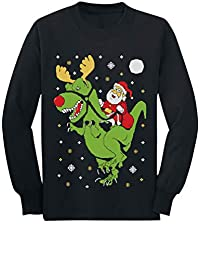 T-Rex Santa Ride Funny Ugly Christmas Sweater Toddler/Kids Long sleeve T-Shirt