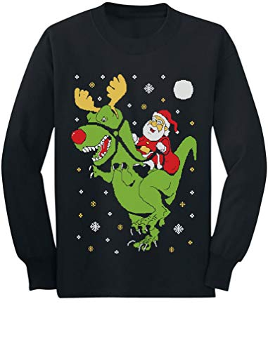 T-Rex Santa Ride Funny Ugly Christmas Sweater Toddler/Kids Long Sleeve T-Shirt 5/6 Black -