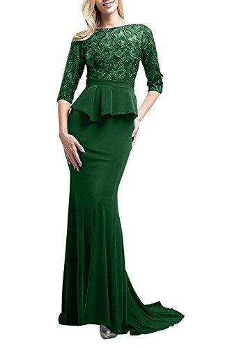 Spitze Braut Satin mia La Gruen Abendkleider Dunkel Brautmutterkleider Meerjungfrau Festlichkleider Figurbetont Langes aus qR5YpB