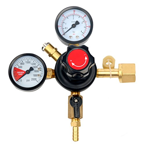 YaeBrew Dual Gauge Co2 Draft Beer Dispensing Regulator - Primary High Pressure Double Gauge Mixed Gas Co2 Regulator CGA320