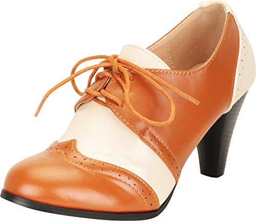 Cambridge Select Women's Retro Pinup Vintage Inspired Lace-Up Chunky Heel Wingtip Oxford,9 B(M) US,Tan/White PU