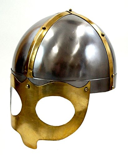 [Deluxe Viking Mask Helmet W/ Steel Brass Trim - Wearable Costume Armor] (Authentic Stormtrooper Costume For Sale)