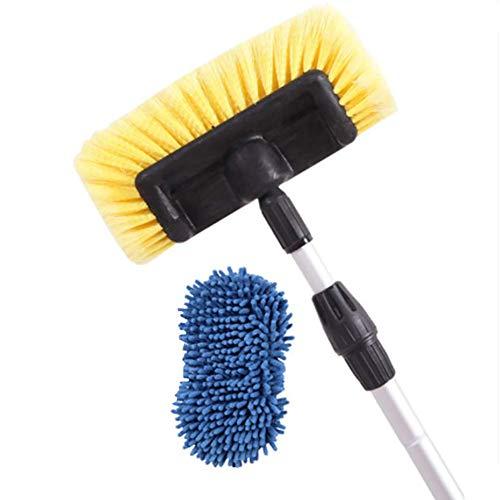 RUIX 洗車ブラシ 通せる水/ロングハンドル 格納式/洗車道具/ソフトブラシ