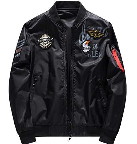 Plus Zipper Black Splicing Jacket Men VITryst Outwear Size Casual Pocket Stand Collar BtnfwAqx