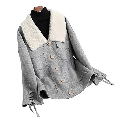 Women's Casual 100% Wool Coat Fur Collar Coat Double-Faced Wool Coat Double Faced Wool Fabric