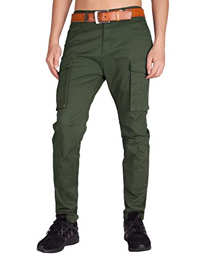 ITALY MORN Men's Chino Cargo Two Bellows Casual Pants 40 Army Green ()