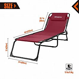 KingCamp Chaise Lounge Camping Folding Cot Supports 265 lbs Adjustable Recliner Sunbathing Beach Pool Sleeping Bed Cot with Pillow