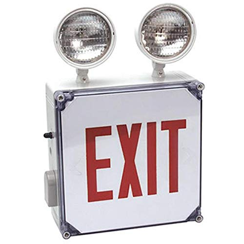 Wet Location Combo Exit & Emergency Light with Red Letters & Two 5.4 W Adjustable Glare Free Lighting Heads, Battery Back Up For 90 min, Sealed Lead Acid Rechargeable Battery