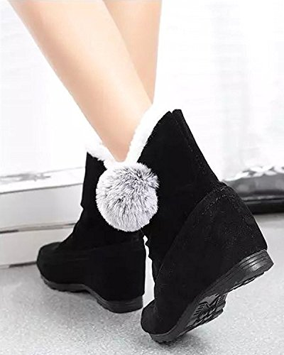 Pom Altura Invierno Botas Lindo Botas Creciente Nieve Minetom De negro Mujer Botas Poms Plano Talón Algodón Zapatos B0Axq75E