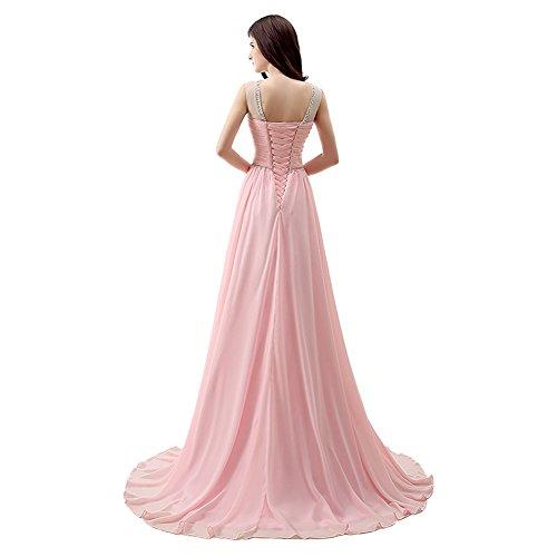 engerla Rückenfrei Kleid Sheer Line Rosa Kristall Pailletten Gerüscht A Träger Pink Ball Frauen Chiffon 1Yqrn1