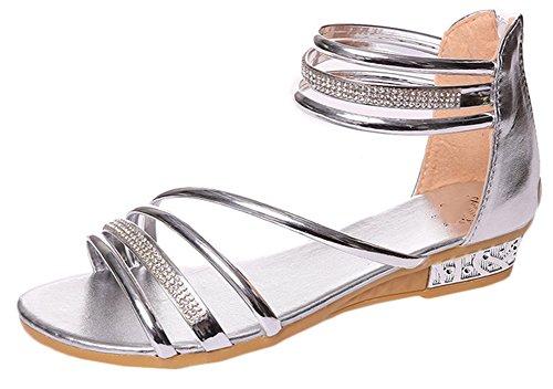 Scothen Sandalias de punta abierta de la Mujer T-Brace para mujer de las sandalias flip flop zapatos planos verano del estilo de Bohemia diamantes de imitación del tobillo Trenzado T-Correa sandalias Silver