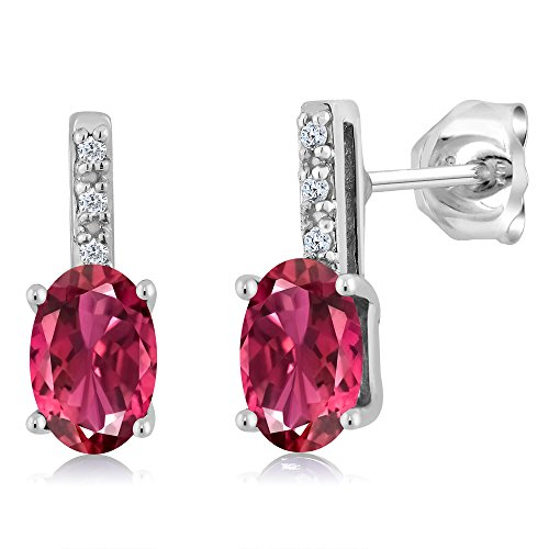 14K White Gold Oval Pink Tourmaline Stud Diamond Women's Stud Earrings 1.03 Cttw 6X4mm Oval