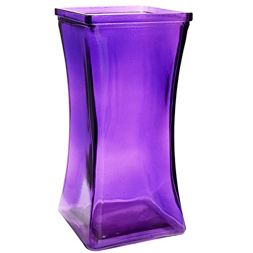 Flower Rose Bunch Glass Gathering Vase Decorative Centerpiece For Home or Wedding (Fits Dozen Roses) - Square - 8.75