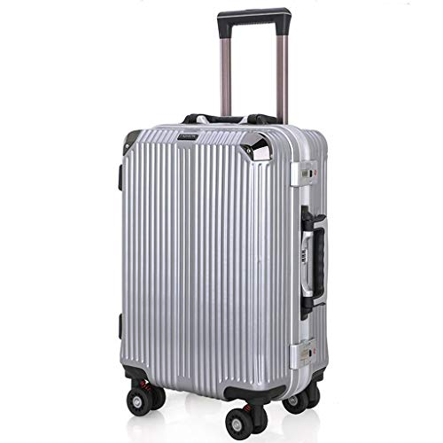 HX Suitcases with Wheels Suitcase Hard Shell PVC Carry Luggage 50 cm 4 Wheel Digital Lock Silver [Silver] Lightweight…
