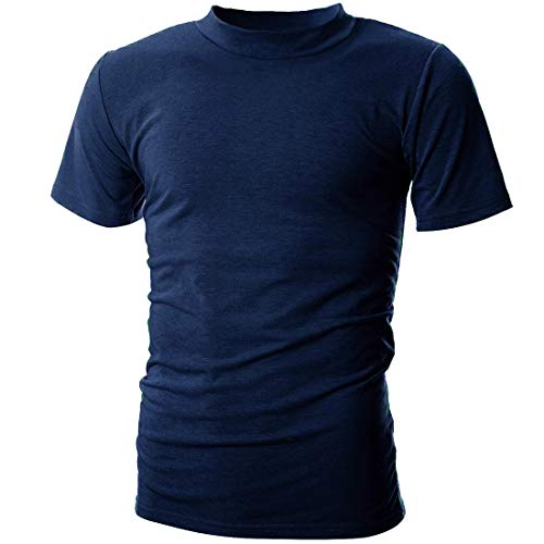 UUANG Men's Big & Tall Shrink-Less Lightweight Esstential Tee (Blue,XL)
