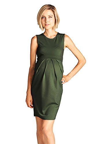 8f4f2cfdb5038 LaClef Women's Maternity Knee length Front Pleated Sleeveless Midi Dress  (Large, Olive)