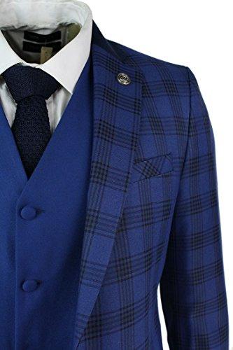 Mens 3 Piece Blue Black Retro Check Herringbone Tweed Suit ...