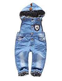 Kidscool Baby Denim Blue Shield Soft Denim Hooded Overalls