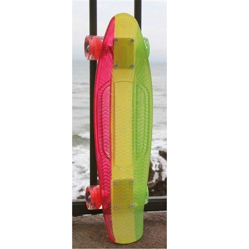 Sunset Skateboards Rasta Complete Skateboard Deck with Red/Yellow/Grey/Green Wheels, 22-Inch, Rasta Stripe