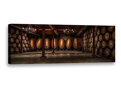 "Winery Wine Cellar Barrels Napa Sonoma Wine Country Photo Photography Wall Art Canvas Print (20""x60"")"