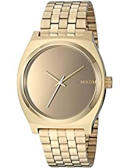 Nixon Womens Time Teller Quartz Stainless Steel Casual Watch, Color:Gold-Toned (Model: A0452764)