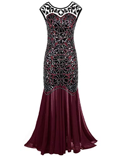 PrettyGuide Women 's 1920s Black Sequin Gatsby Maxi Long Evening Prom Dress, Burgundy - 18/20 Plus