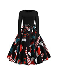 Women's Vintage Print Long Sleeve Christmas Evening Party Swing Dress Xmas Gift