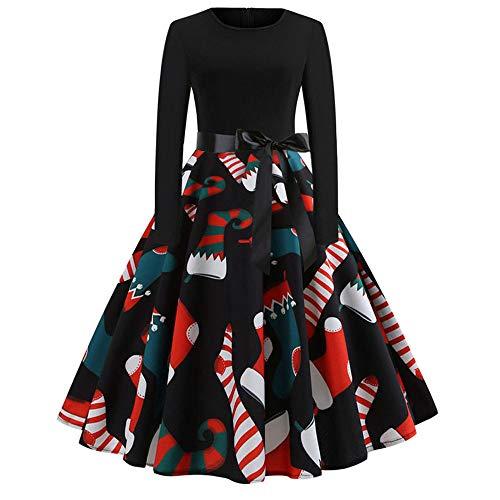 (Women Dress, Lowprofile Christmas Print Flare Dress for Women Long Sleeve Dress Party Casual)