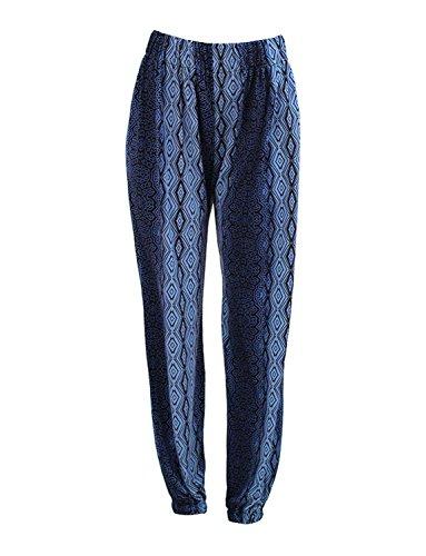 G2 Chic Women's Printed Harem Jogger Pant with Elastic Waist(BTM-PNT,DBLA1-M)