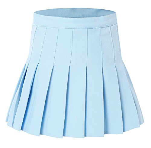 Women's High Waist Kawai Pleated School Skirt(XL Light Blue) (Sexy Blue Pleated Skirt)