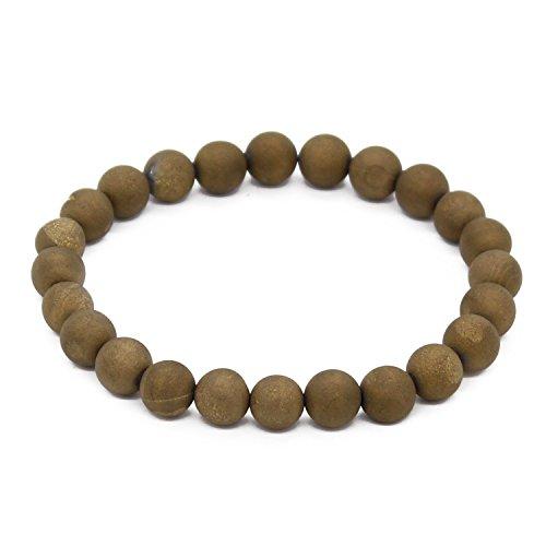 POSHFEEL Yellow Druzy Agate Beads Stretch Bracelet Healing Gemstone 8mm Semi Precious Jewelry Unisex,7.5