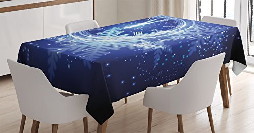 New Years Countdown Clock - Clock Decor Tablecloth by Ambesonne, Countdown to New Year Theme A Clock Holiday Lights and Snowflakes Pattern Design, Dining Room Kitchen Rectangular Table Cover, 52 W X 70 L Inches, Blue