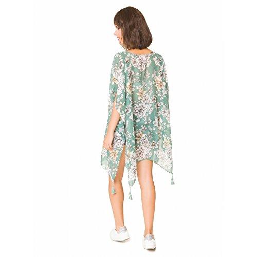 Camisolas Playa Mujer Verano Pareo Vestido para Proteger Sol y Cubrir Bikini Verde con estampado blanco